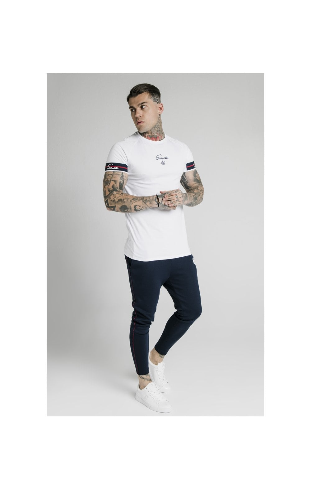 Load image into Gallery viewer, SikSilk Raglan Tech Tee Exposed Tape - White (5)