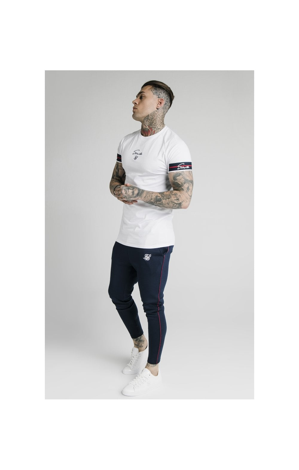 Load image into Gallery viewer, SikSilk Raglan Tech Tee Exposed Tape - White (6)