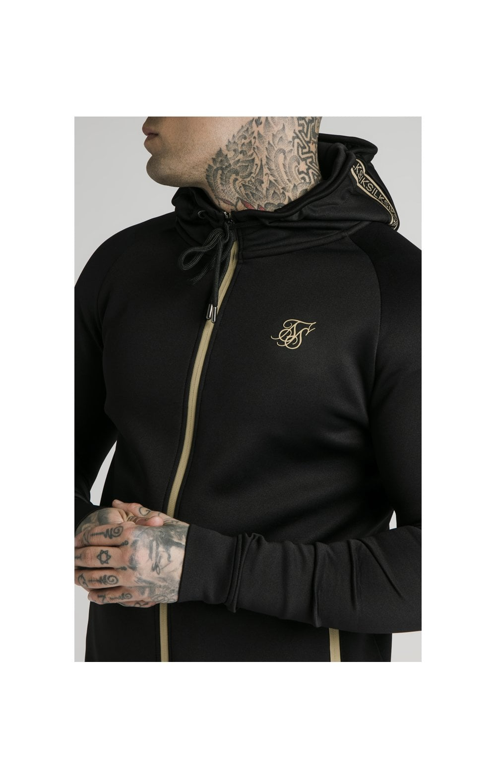 Load image into Gallery viewer, SikSilk Element Zip Through Hoodie - Black & Gold