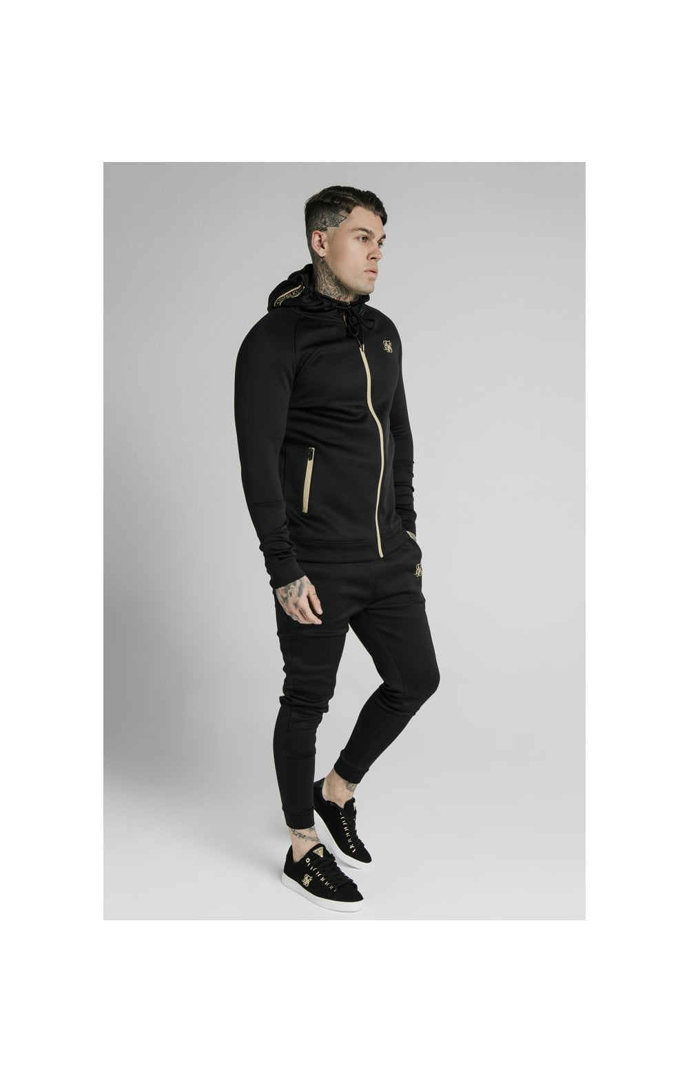 Load image into Gallery viewer, SikSilk Element Zip Through Hoodie - Black & Gold (2)