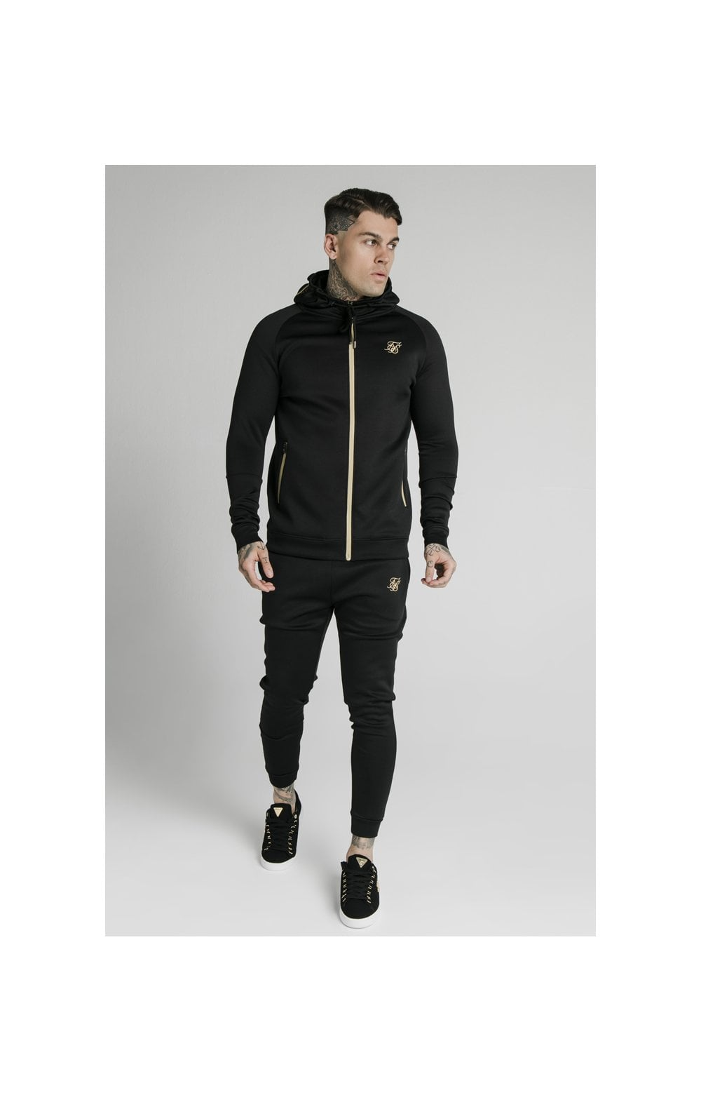 Load image into Gallery viewer, SikSilk Element Zip Through Hoodie - Black & Gold (3)
