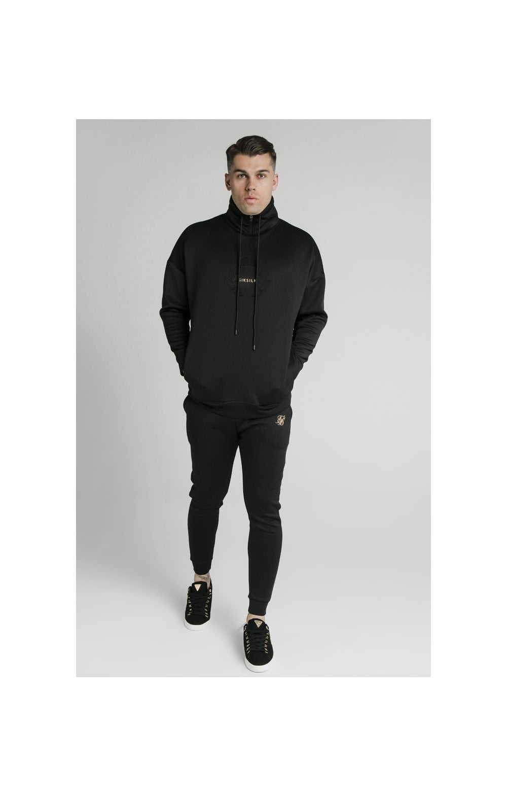 SikSilk Element Quarter Zip Hoodie – Black & Gold (1)