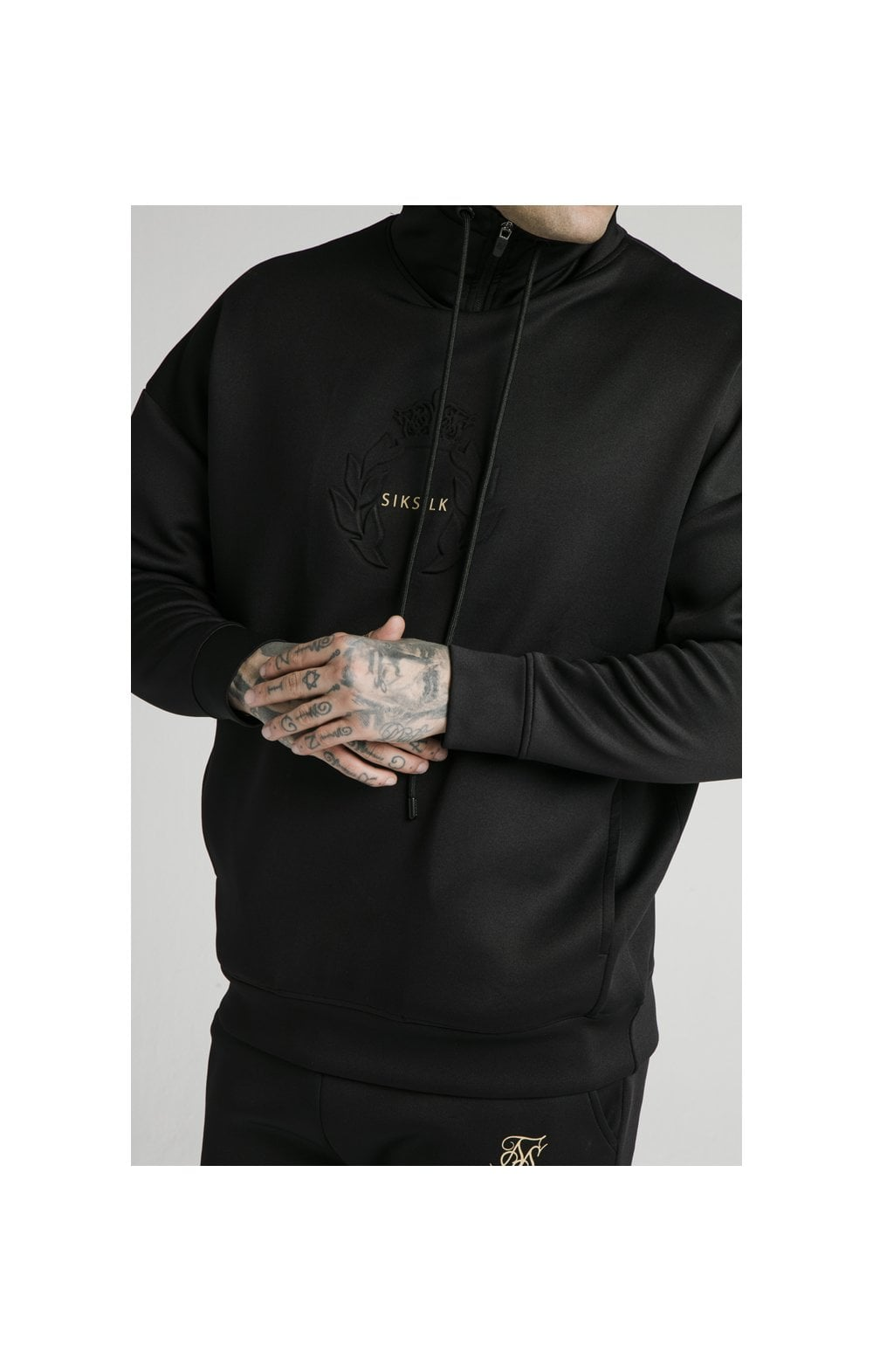 SikSilk Element Quarter Zip Hoodie – Black & Gold (3)
