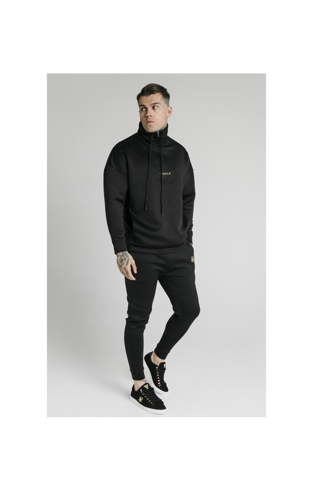 SikSilk Element Quarter Zip Hoodie – Black & Gold (4)