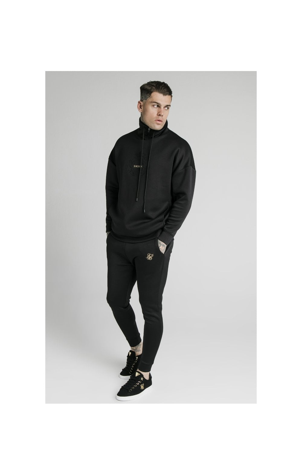 SikSilk Element Quarter Zip Hoodie – Black & Gold (5)