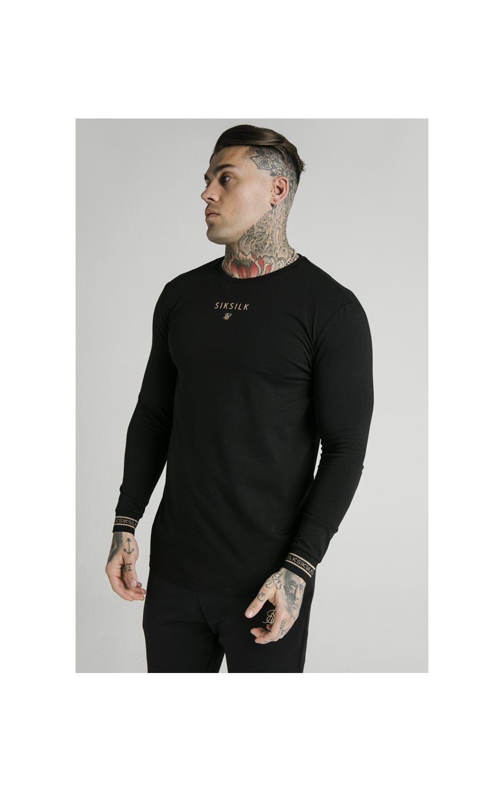 Load image into Gallery viewer, SikSilk Element L/S Straight Hem Gym Tee – Black & Gold