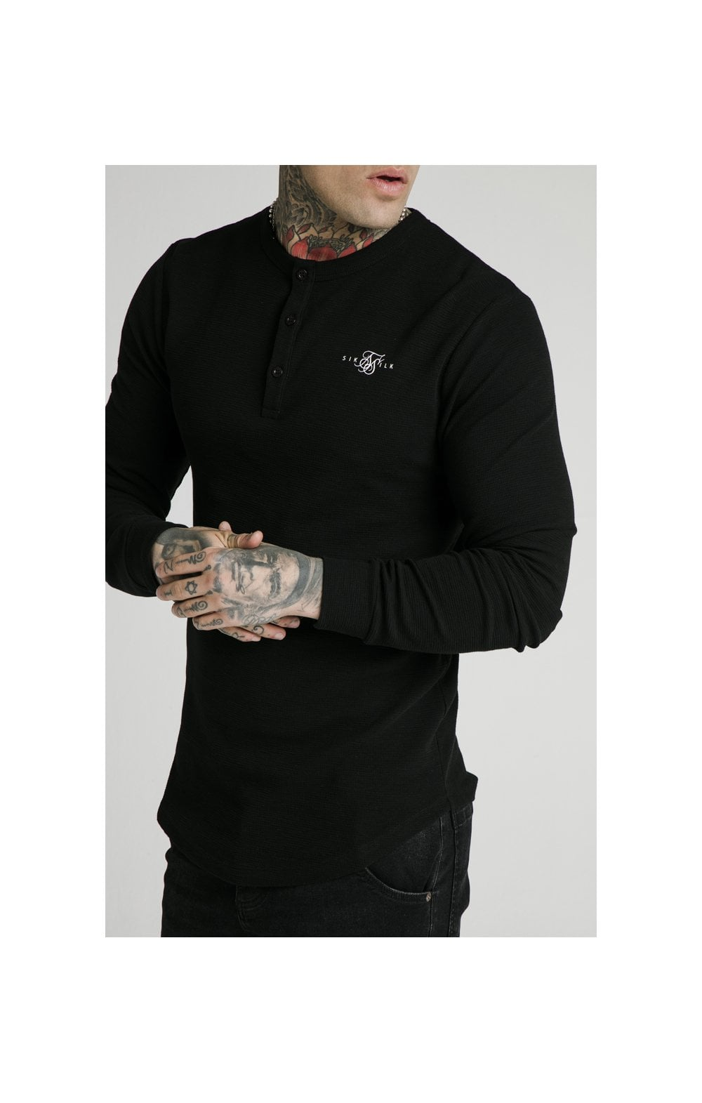 SikSilk Long Sleeve Button Down Tee – Black (1)