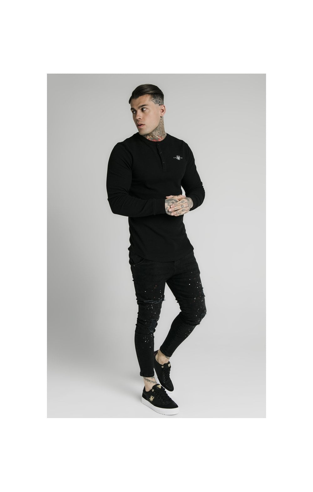 SikSilk Long Sleeve Button Down Tee – Black (2)