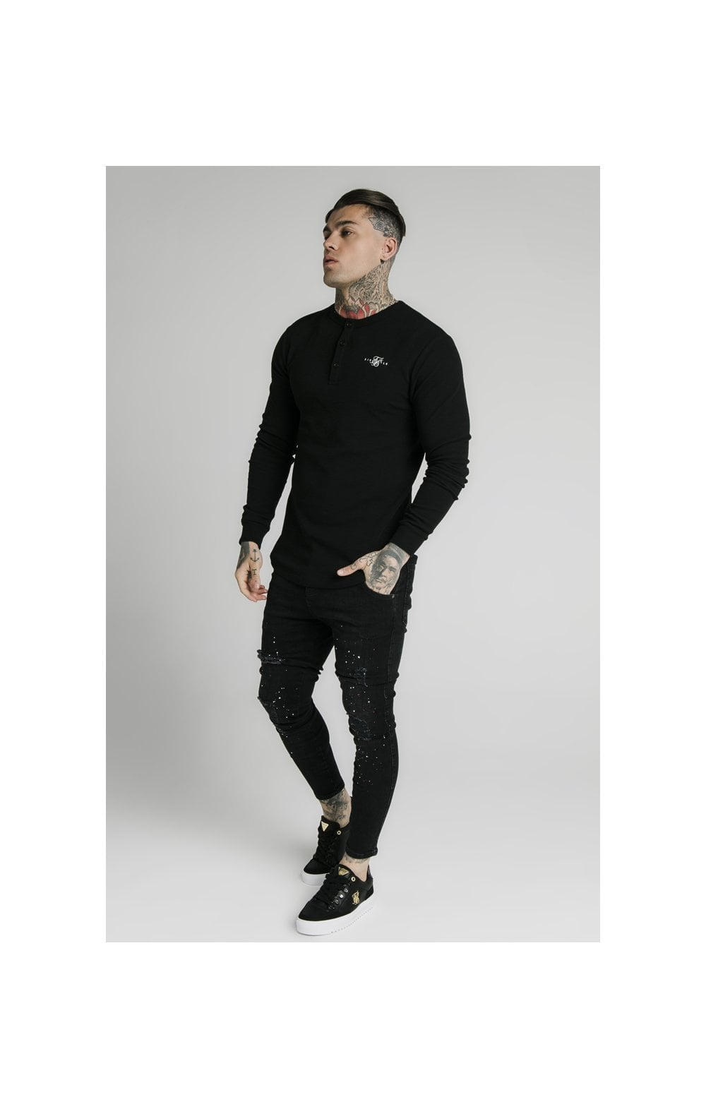 SikSilk Long Sleeve Button Down Tee – Black (3)
