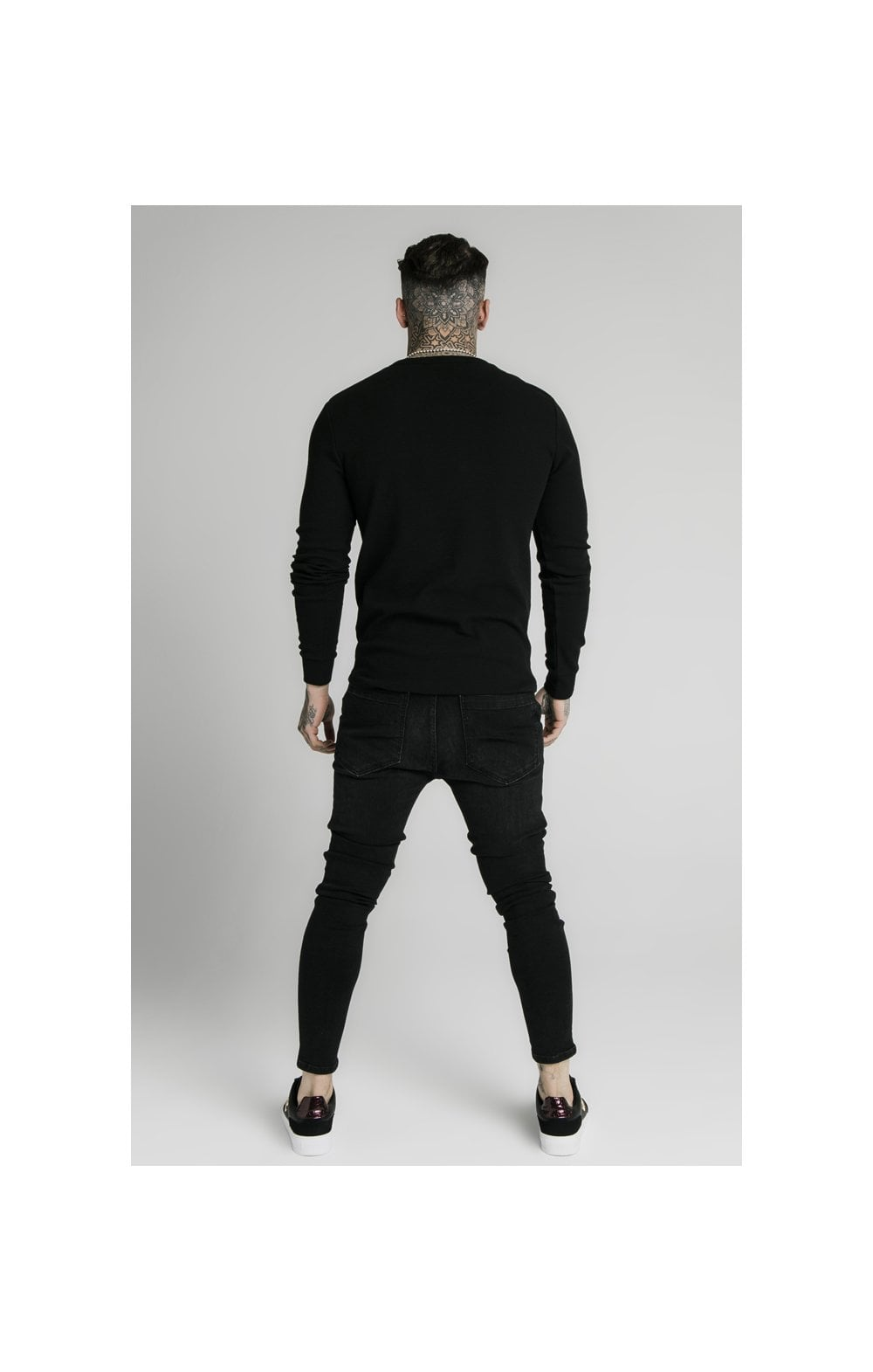 SikSilk Long Sleeve Button Down Tee – Black (4)