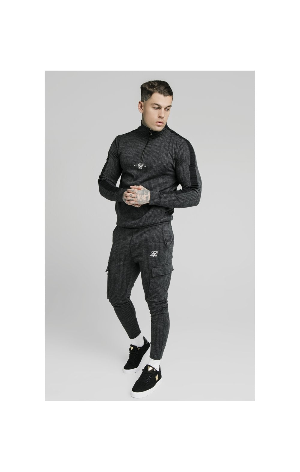 Load image into Gallery viewer, SikSilk Tonal Check Quarter Zip Hoodie - Grey (2)