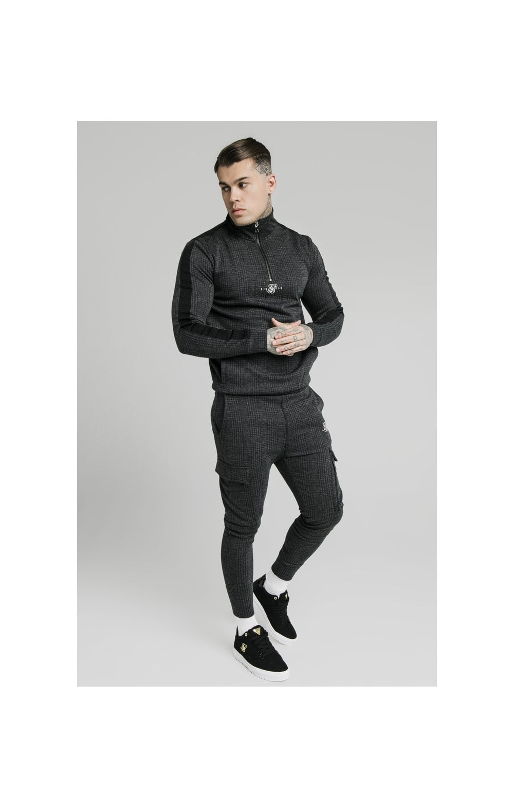 Load image into Gallery viewer, SikSilk Tonal Check Quarter Zip Hoodie - Grey (3)