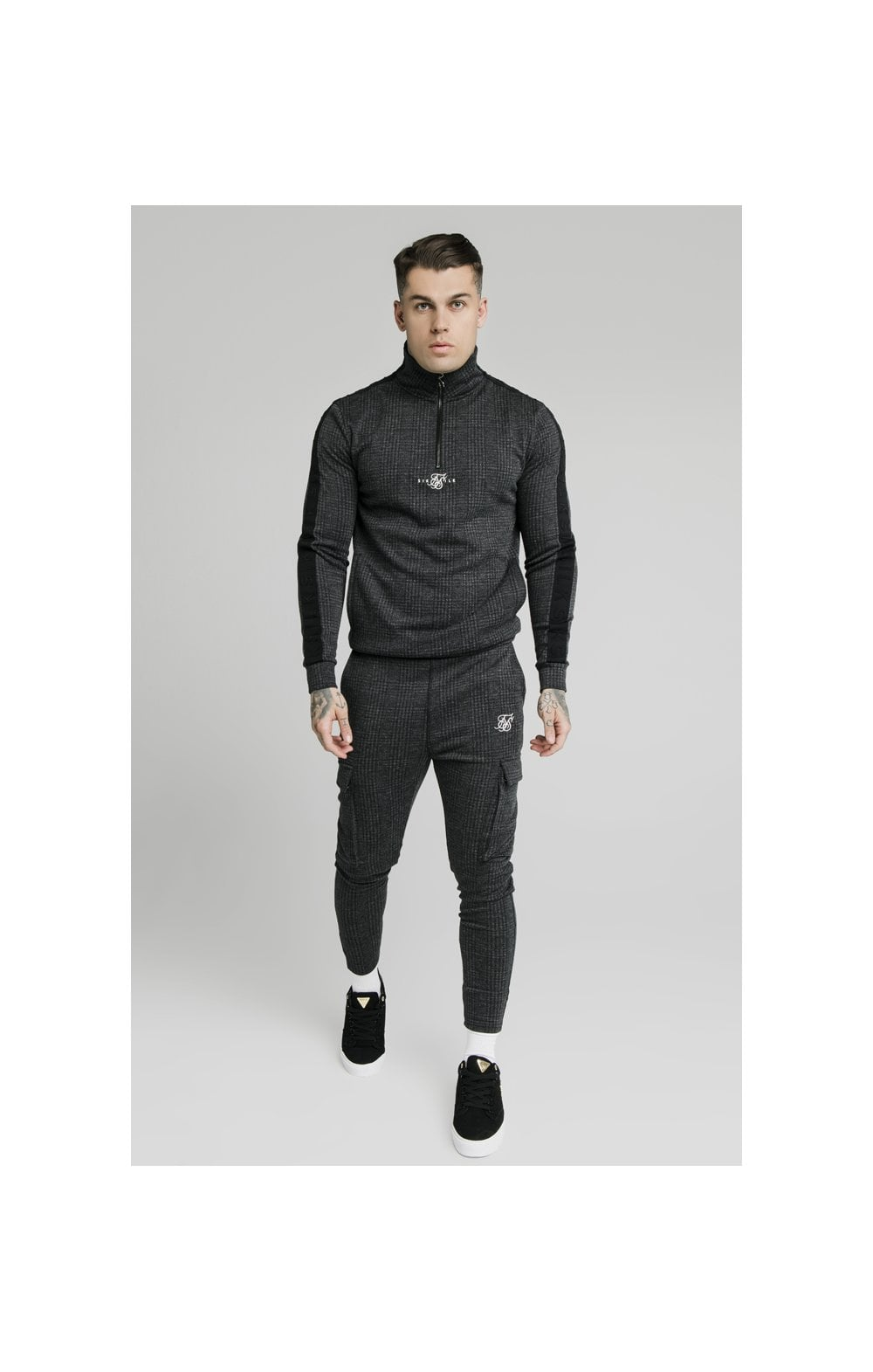 Load image into Gallery viewer, SikSilk Tonal Check Quarter Zip Hoodie - Grey (5)