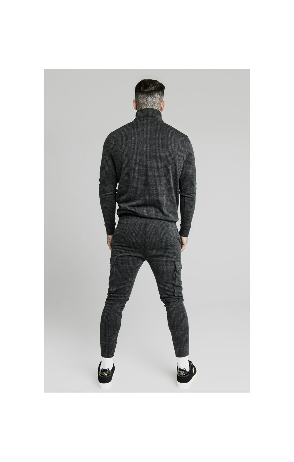 Load image into Gallery viewer, SikSilk Tonal Check Quarter Zip Hoodie - Grey (6)