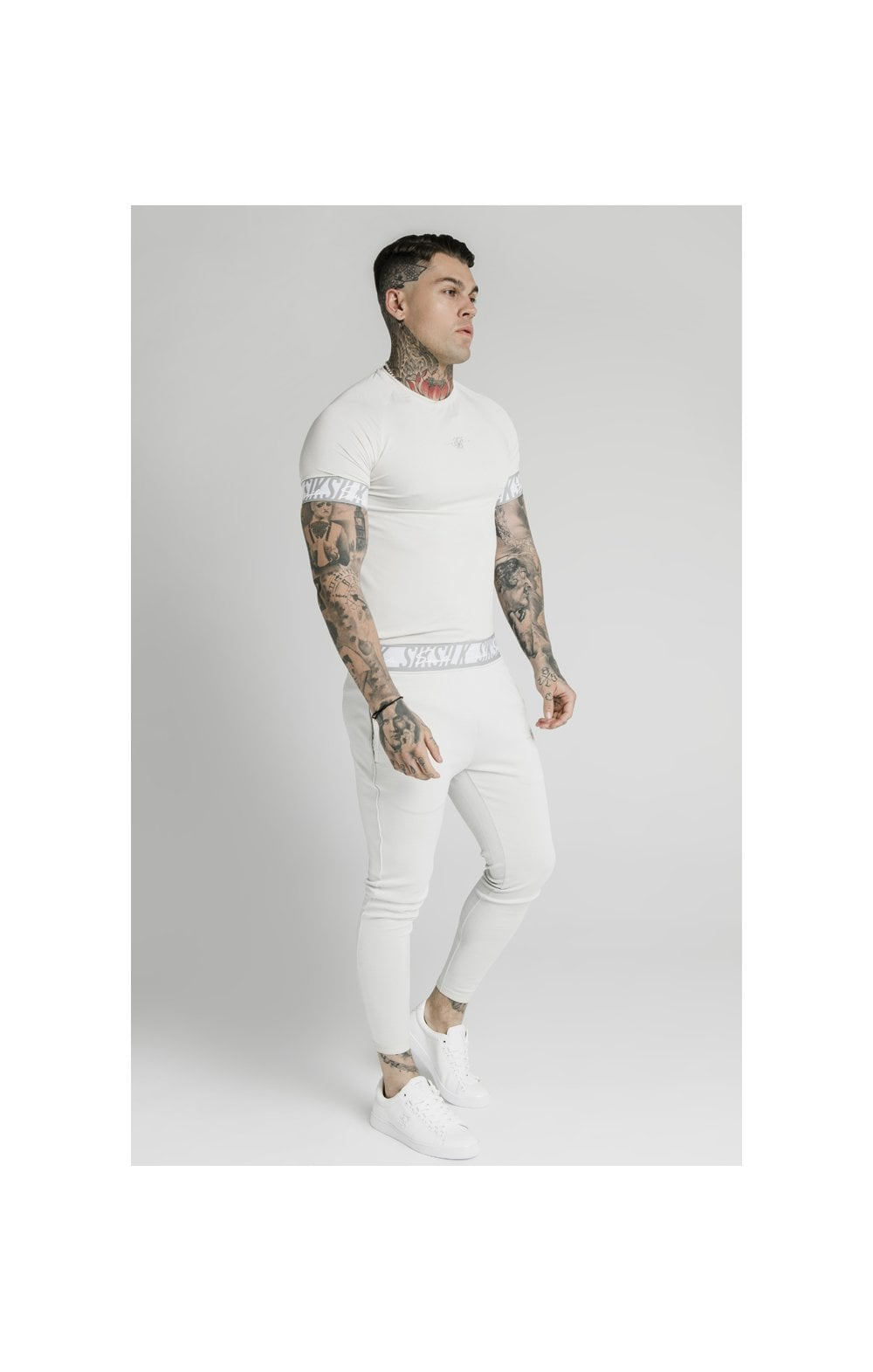 Load image into Gallery viewer, SikSilk S/S Scope Tape Tech Tee – Ice Grey (2)