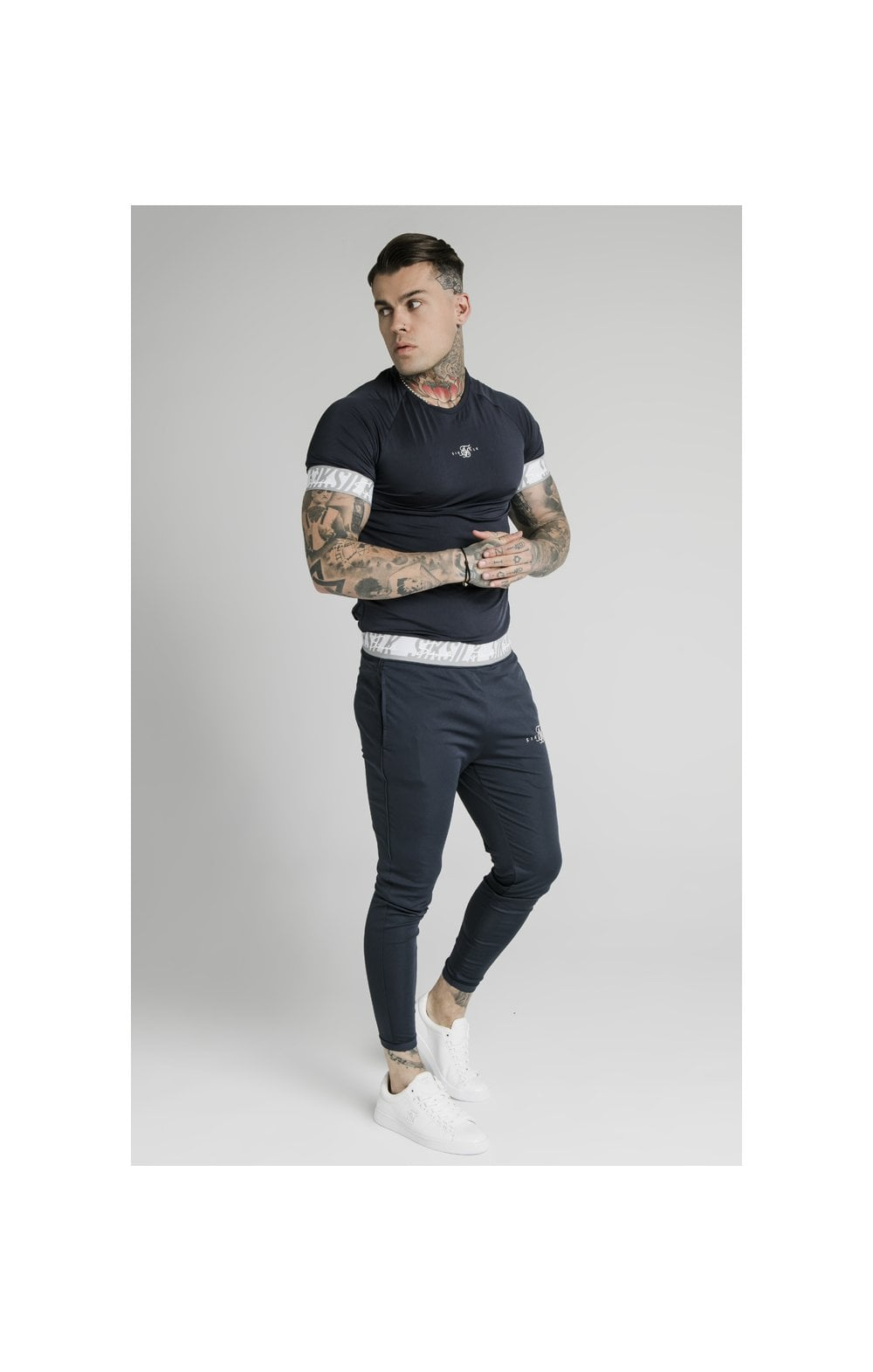 SikSilk S/S Scope Tape Tech Tee – Navy (2)