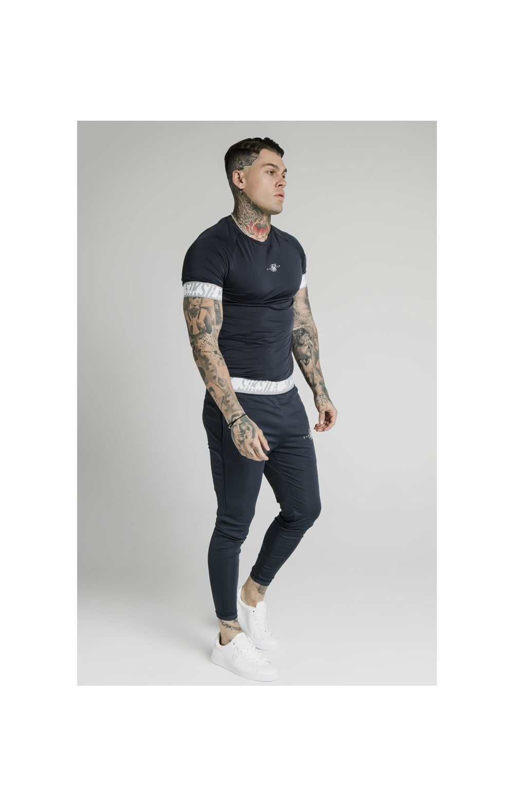 SikSilk S/S Scope Tape Tech Tee – Navy (3)