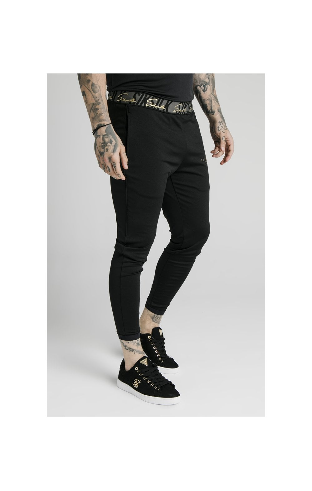 SikSilk Scope Tape Track Pant - Black (1)