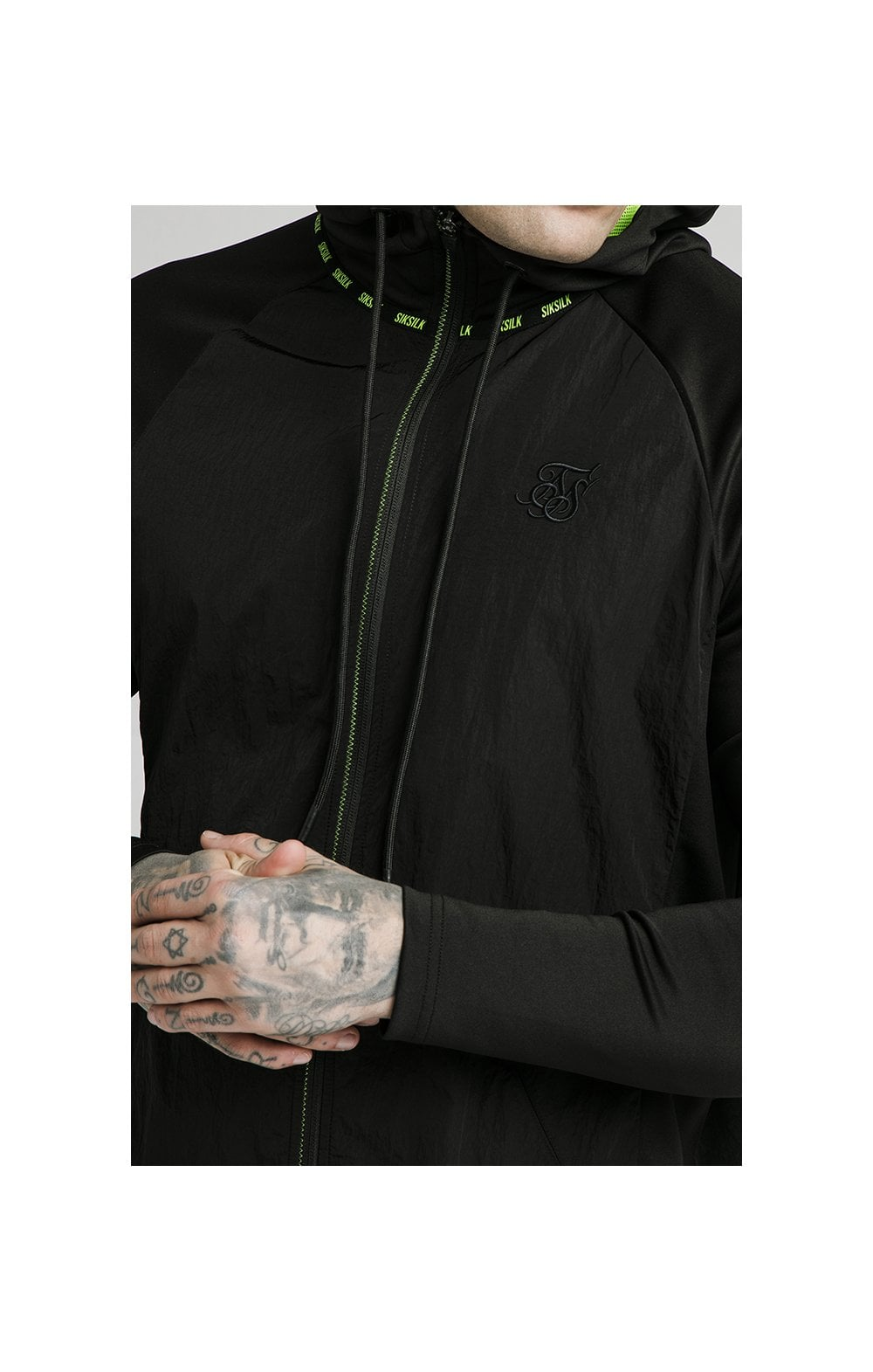 SikSilk Adapt Crushed Nylon Zip Through – Black (1)