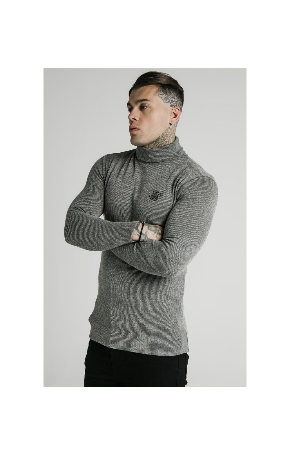 SikSilk Rib Turtle Neck - Grey