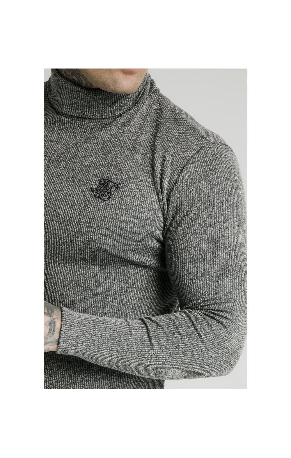 SikSilk Rib Turtle Neck - Grey (1)
