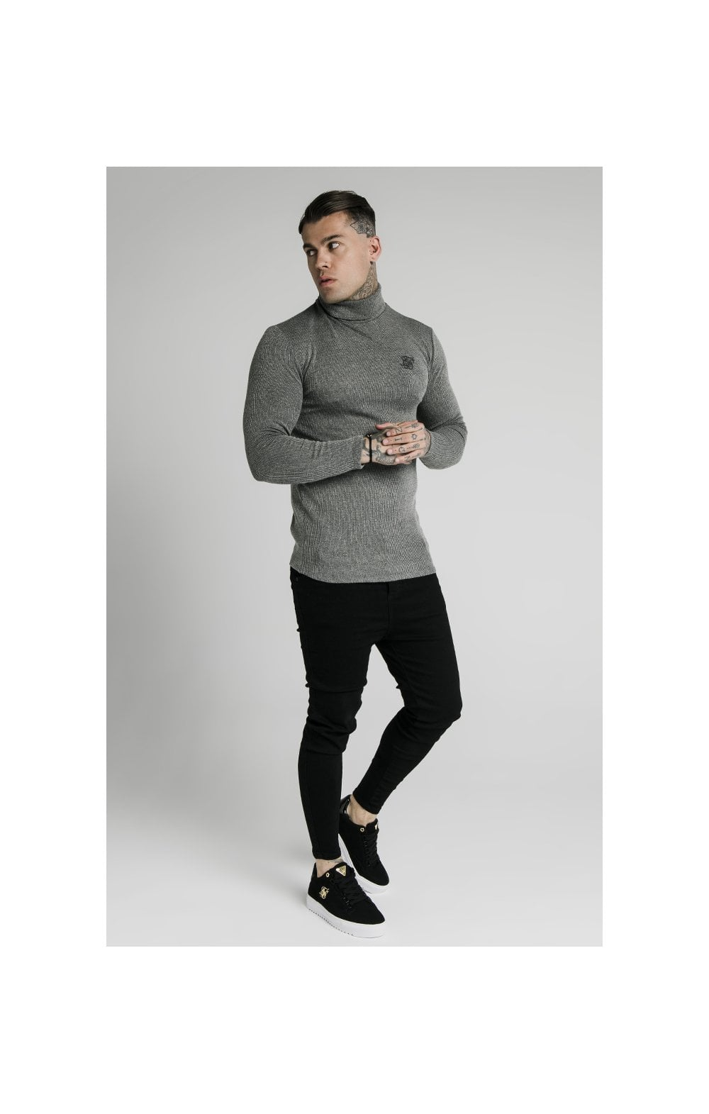 SikSilk Rib Turtle Neck - Grey (2)