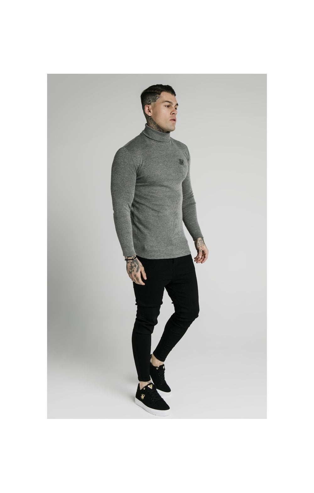 SikSilk Rib Turtle Neck - Grey (3)