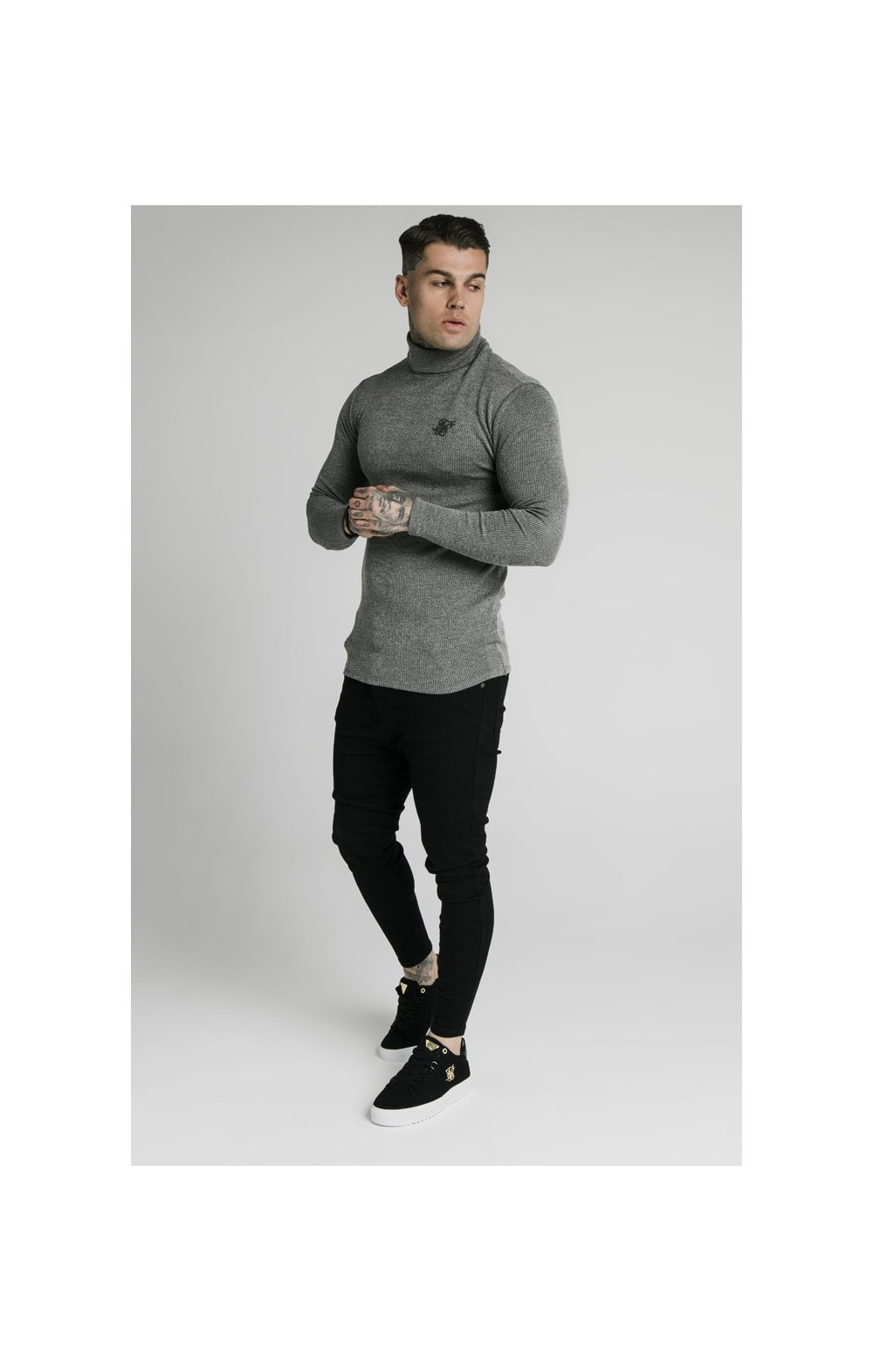 SikSilk Rib Turtle Neck - Grey (4)