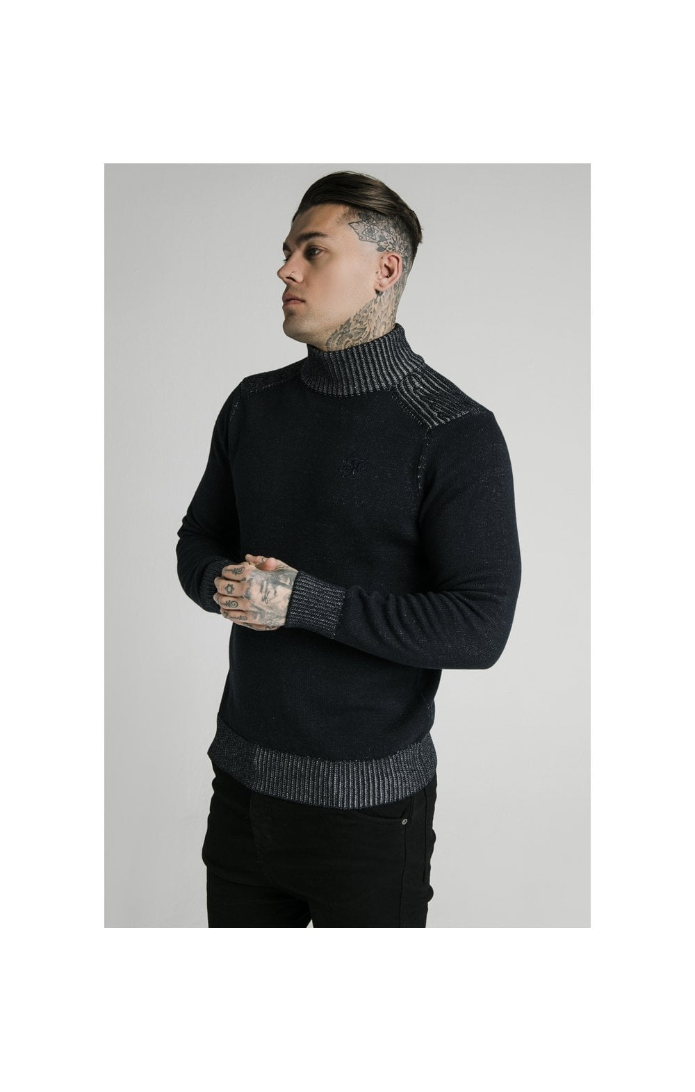 SikSilk Rib Turtle Neck - Navy