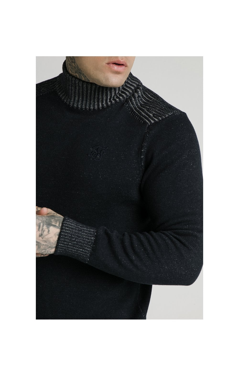 SikSilk Rib Turtle Neck - Navy (1)