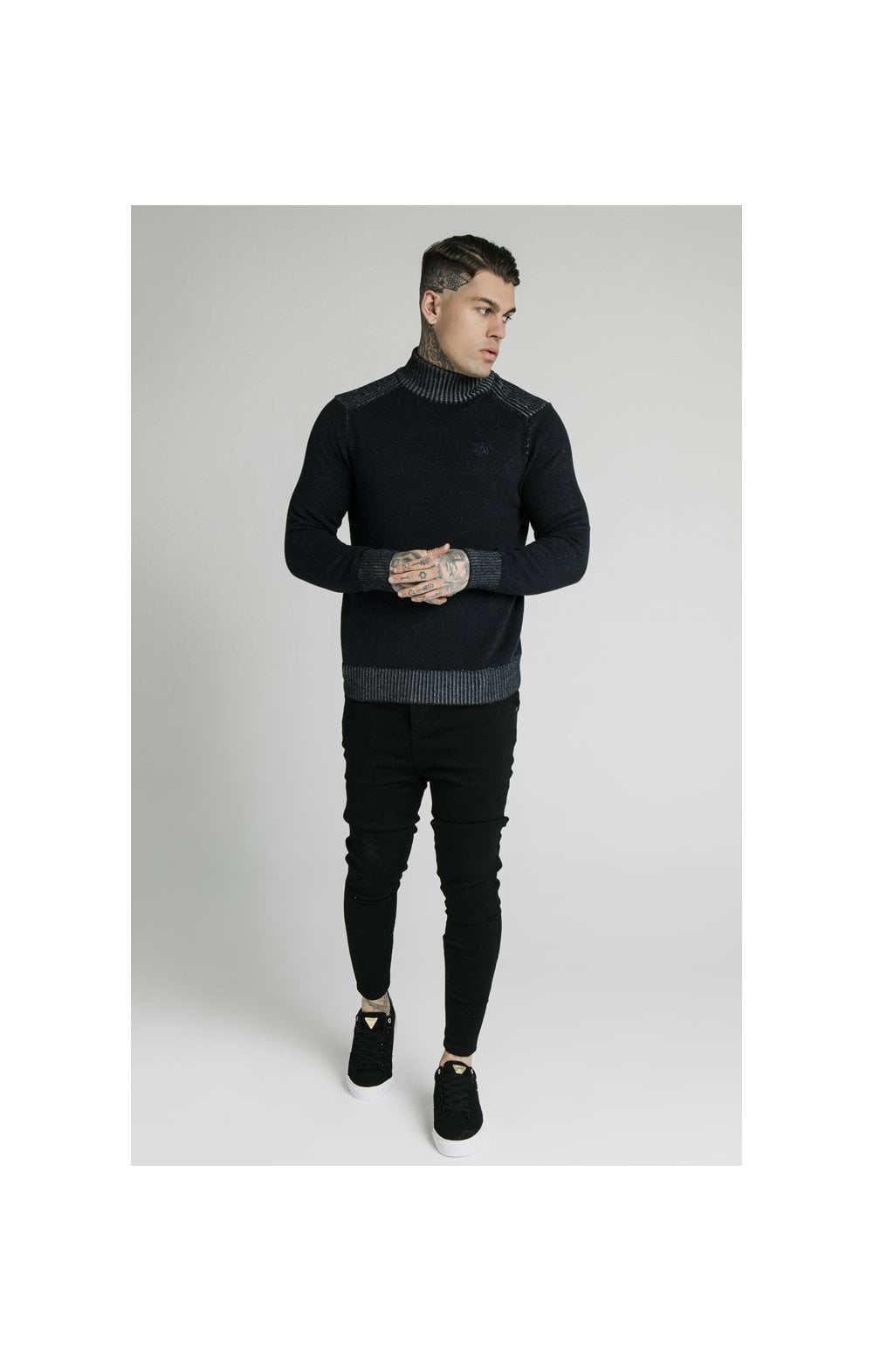SikSilk Rib Turtle Neck - Navy (2)