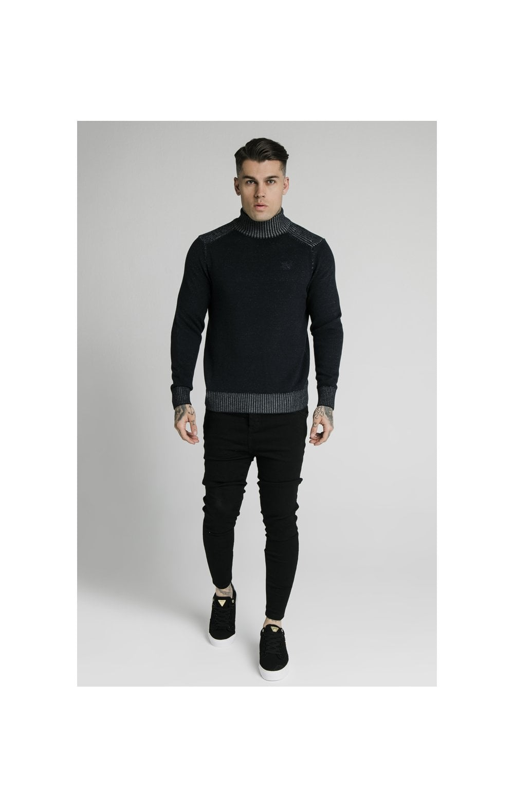 SikSilk Rib Turtle Neck - Navy (3)