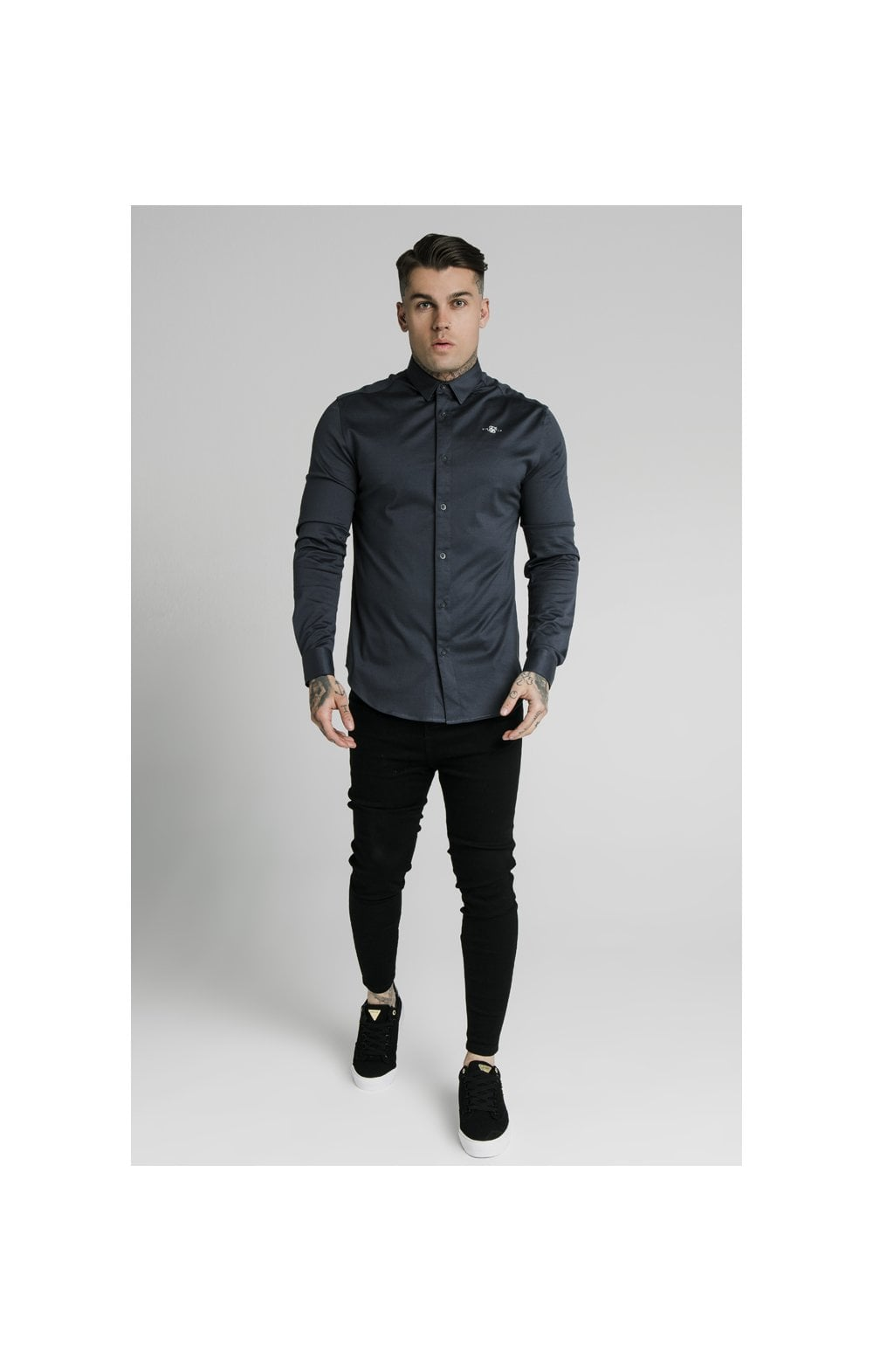 Load image into Gallery viewer, SikSilk L/S Cotton Shirt - Navy (2)