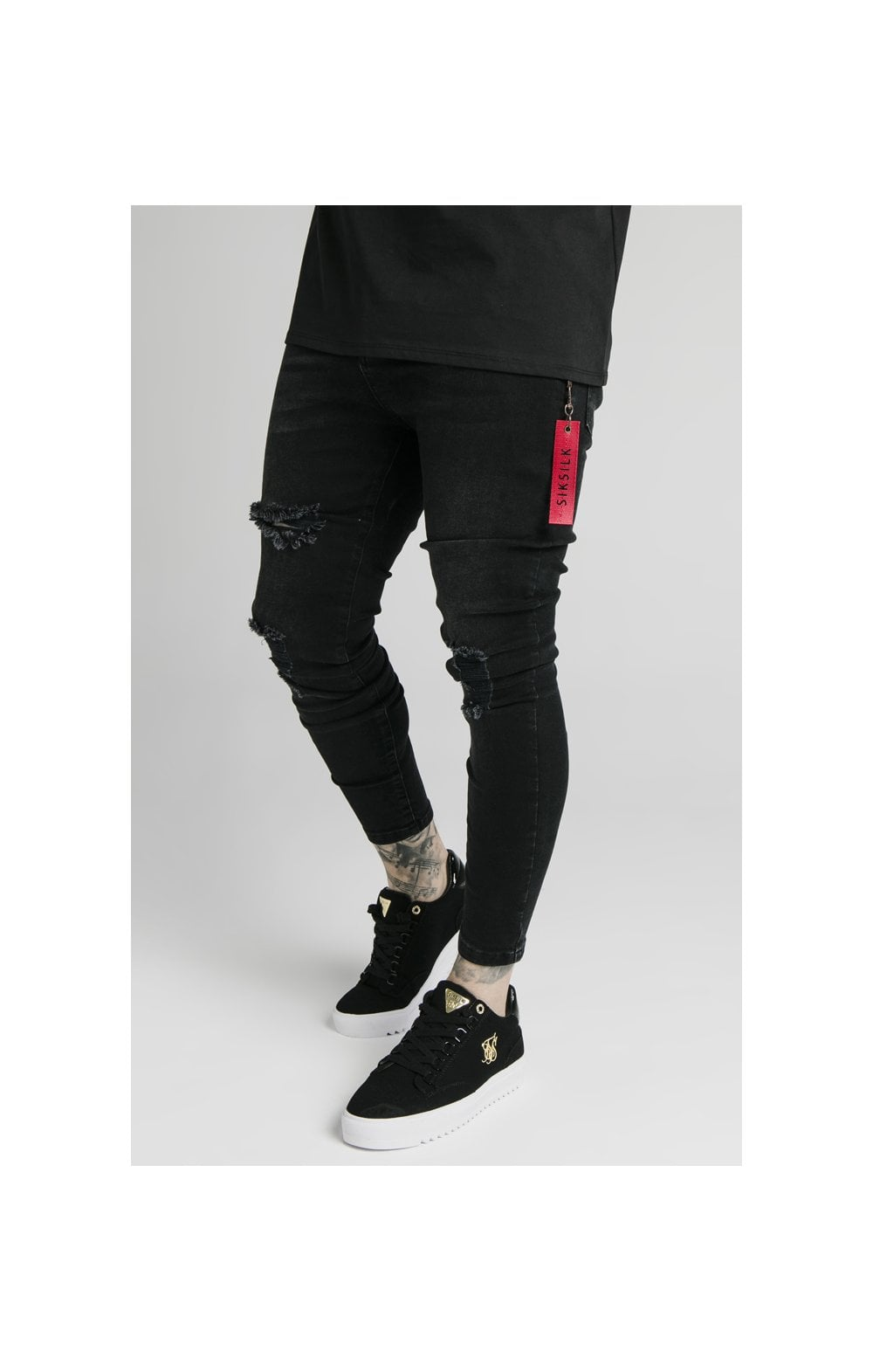 SikSilk Distressed Flight Denims – Washed Black