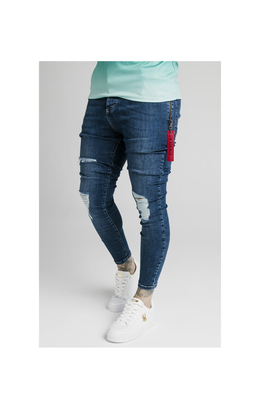 Load image into Gallery viewer, SikSilk Distressed Flight Denims – Midstone