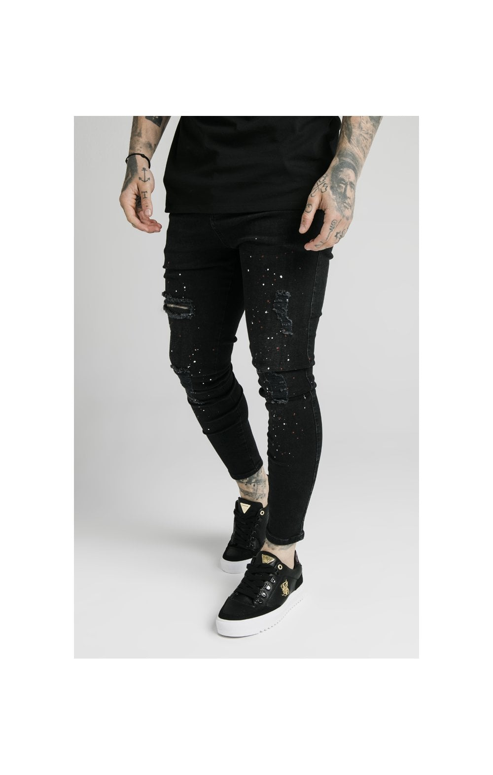 SikSilk Skinny Distressed Riot Denims – Black