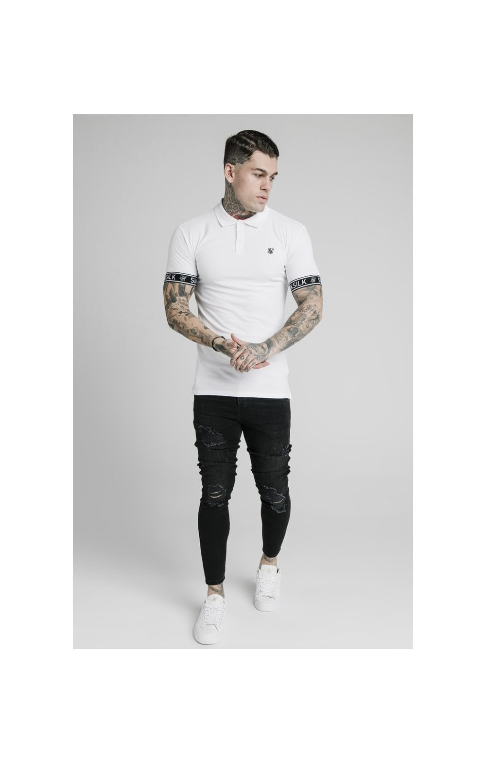 SikSilk S/S Tech Polo Tee - White (4)