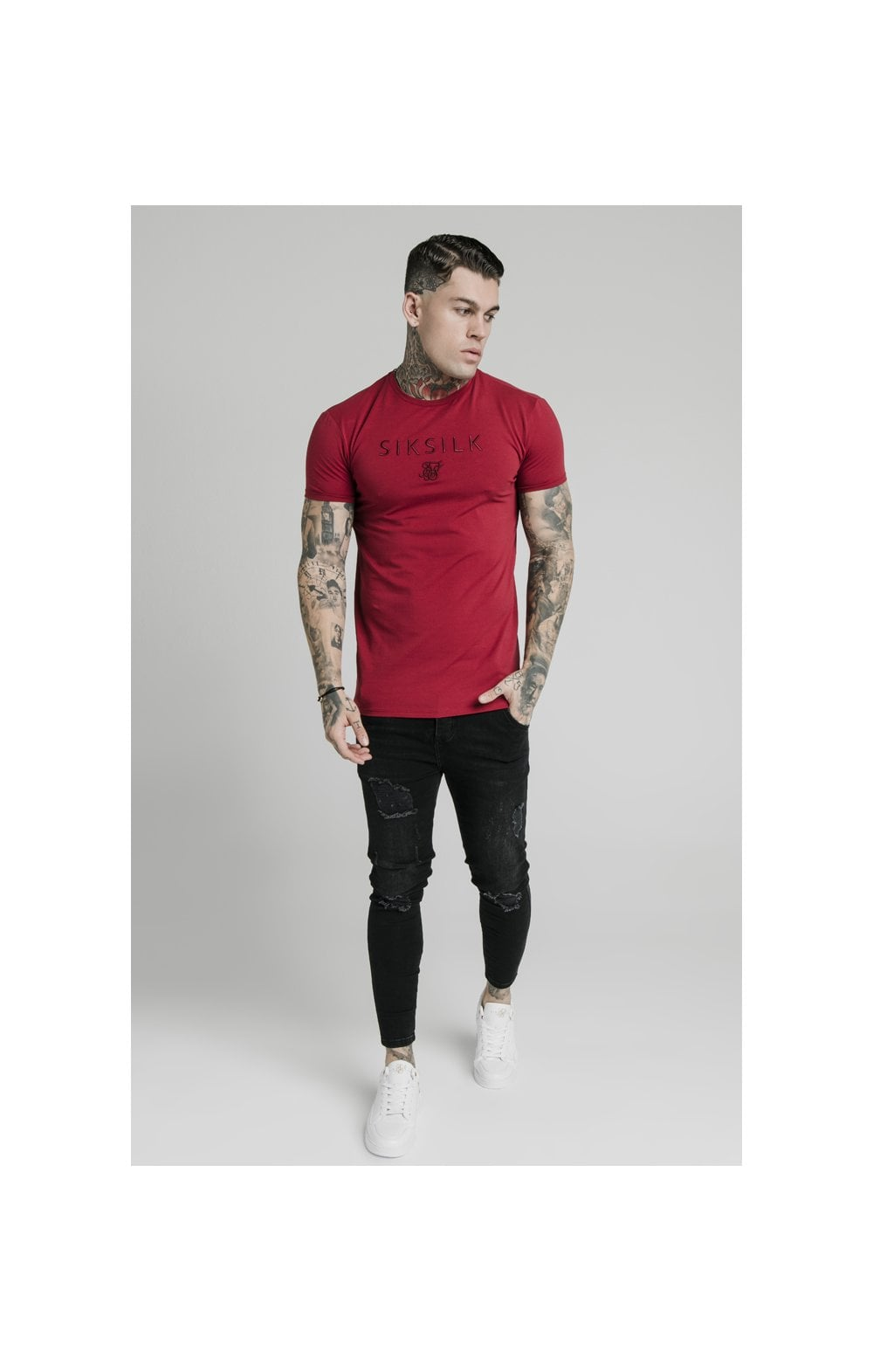 Load image into Gallery viewer, SikSilk Straight Hem Gym Tee - Red (3)