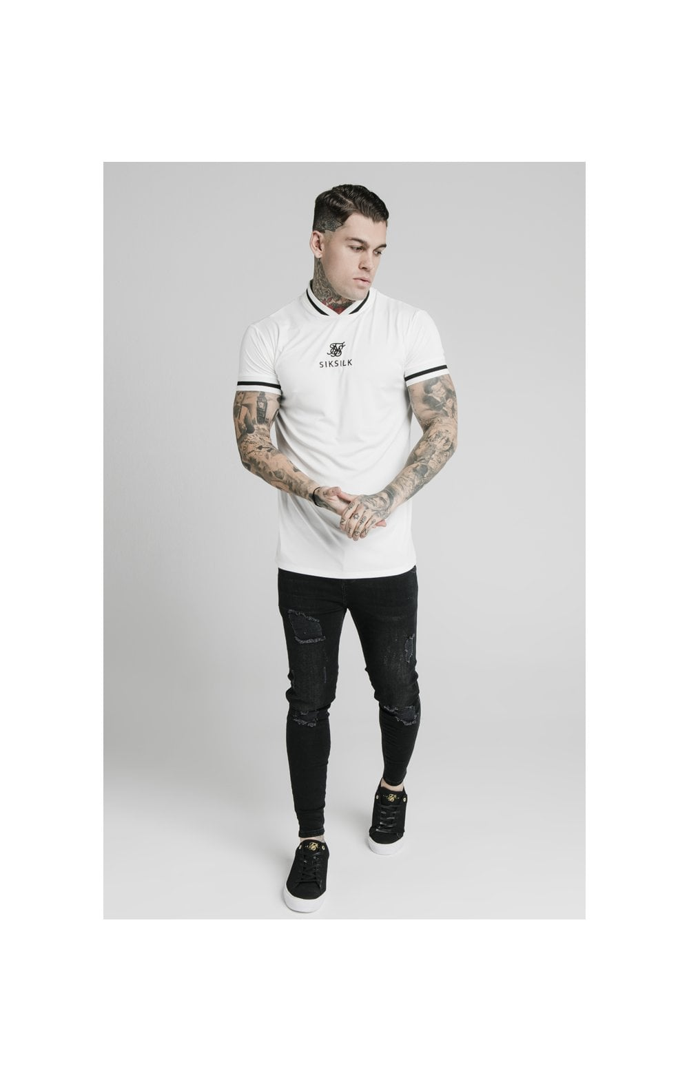 SikSilk S/S Poly Rib Collar Tee - Off White