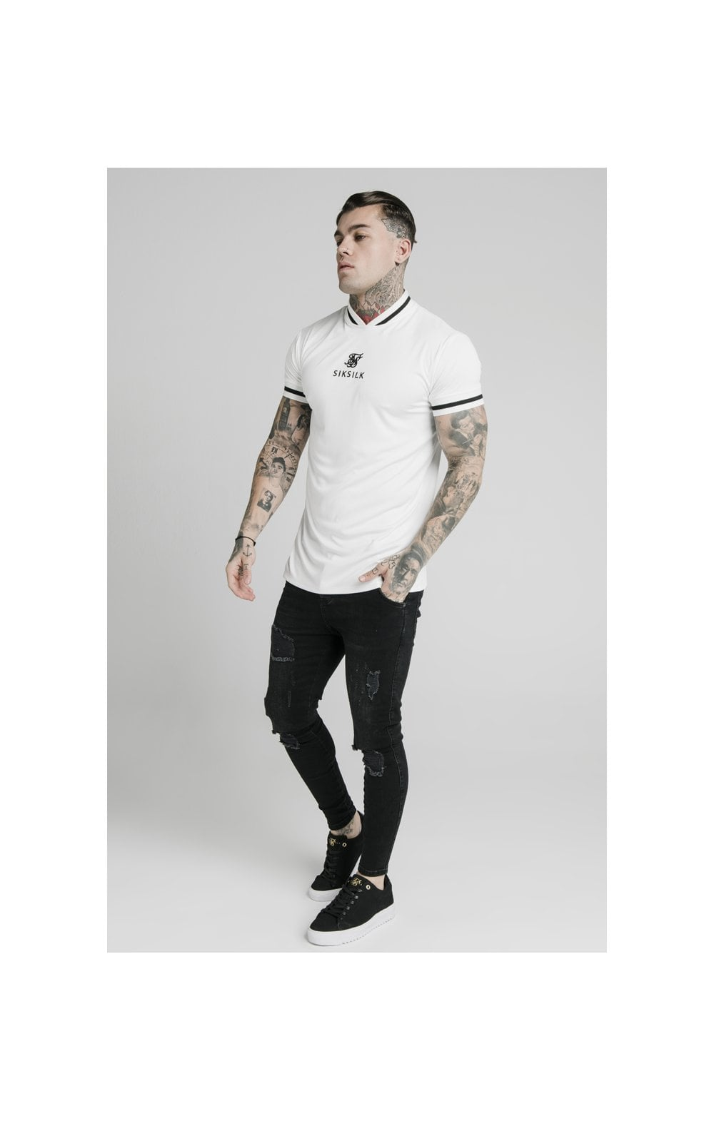 SikSilk S/S Poly Rib Collar Tee - Off White (2)