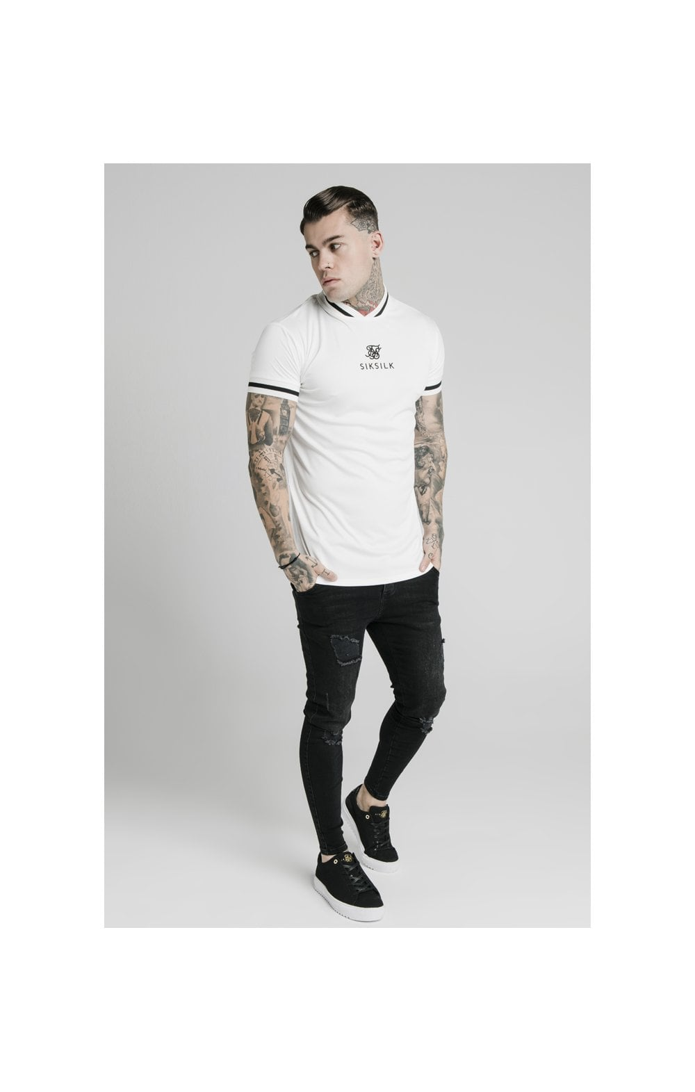 SikSilk S/S Poly Rib Collar Tee - Off White (3)