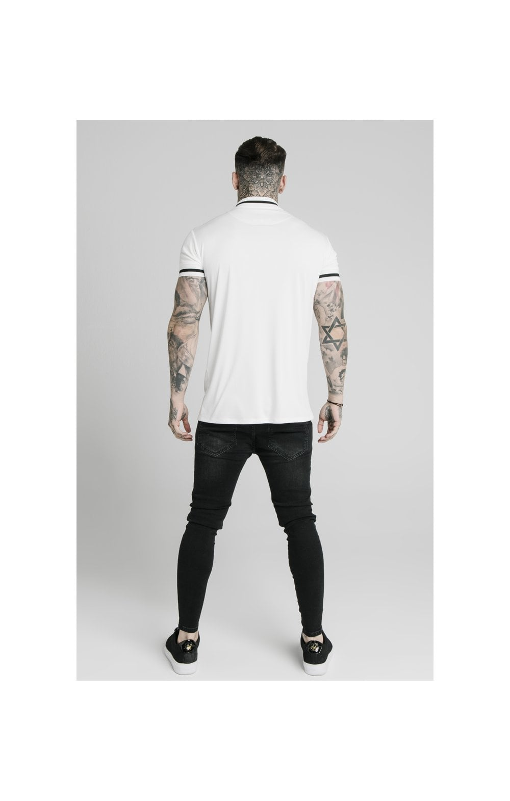 SikSilk S/S Poly Rib Collar Tee - Off White (4)