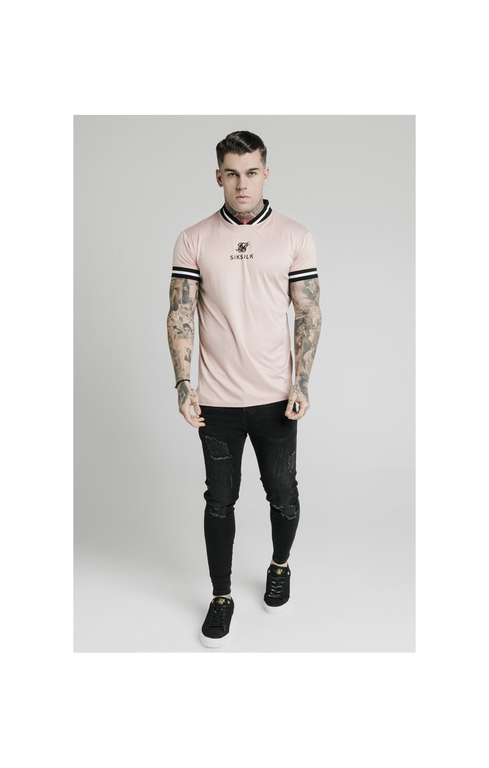 Load image into Gallery viewer, SikSilk S/S Poly Rib Collar Tee - Dusky Pink (2)