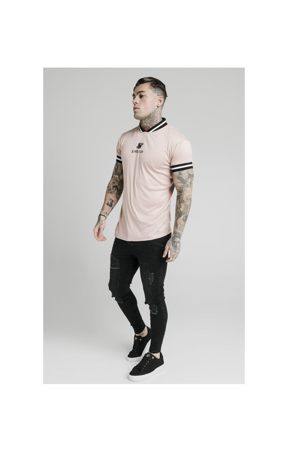 Load image into Gallery viewer, SikSilk S/S Poly Rib Collar Tee - Dusky Pink (3)