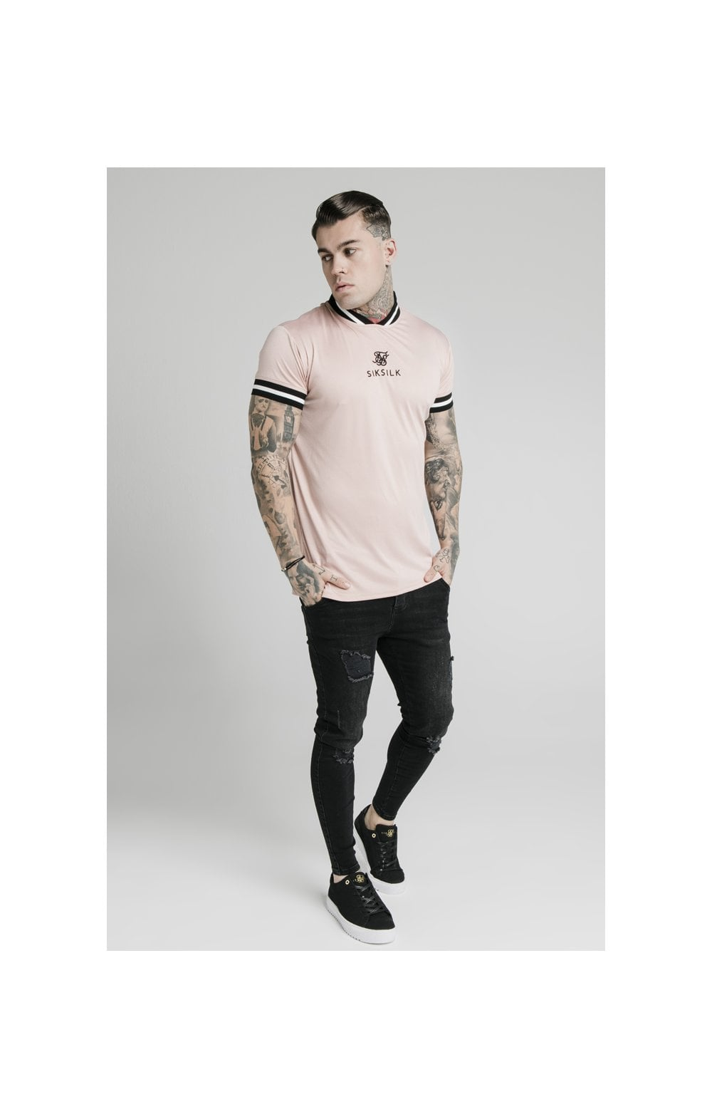 Load image into Gallery viewer, SikSilk S/S Poly Rib Collar Tee - Dusky Pink (4)
