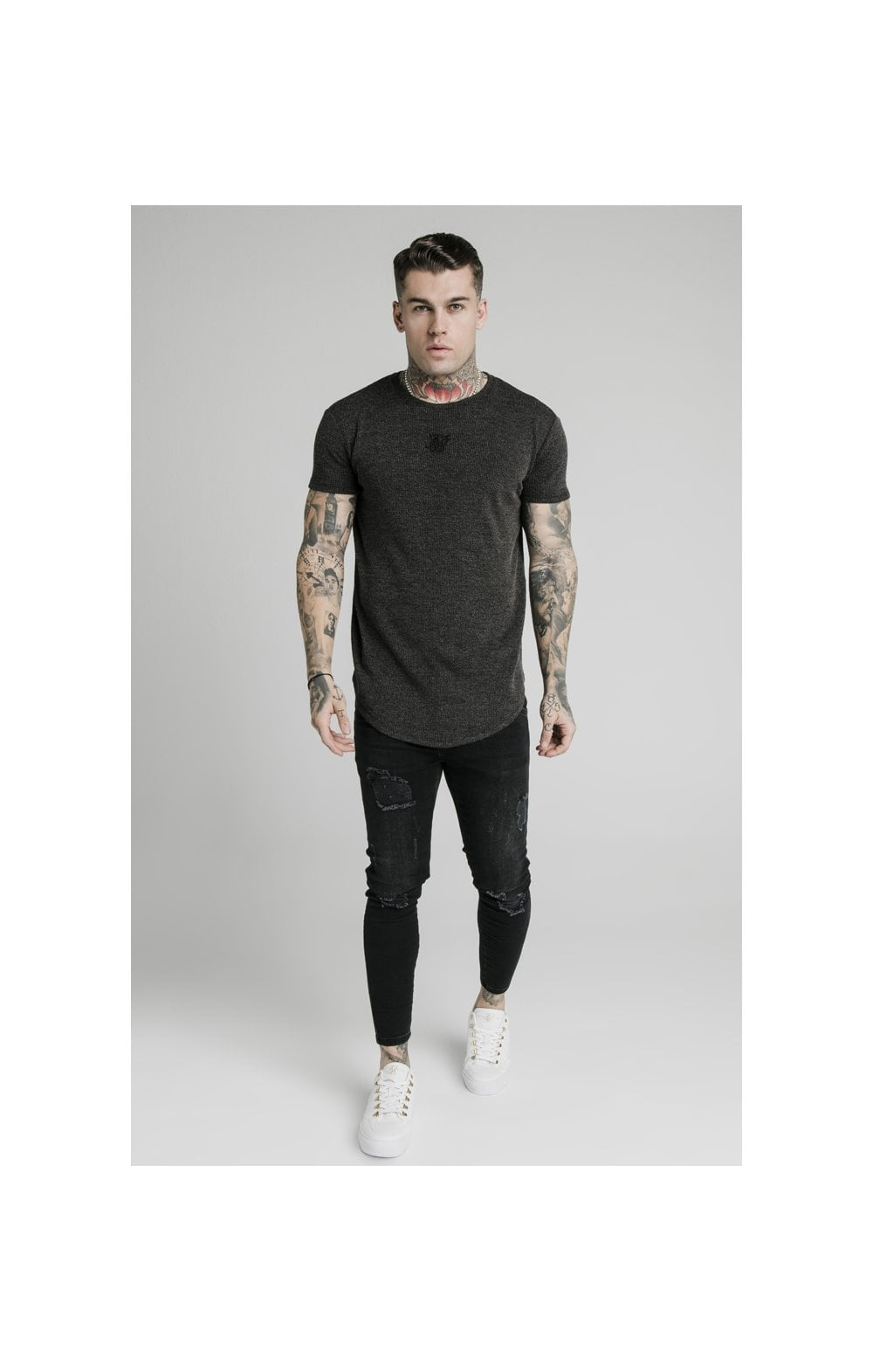 Load image into Gallery viewer, SikSilk Rib Knit Gym Tee - Black (3)