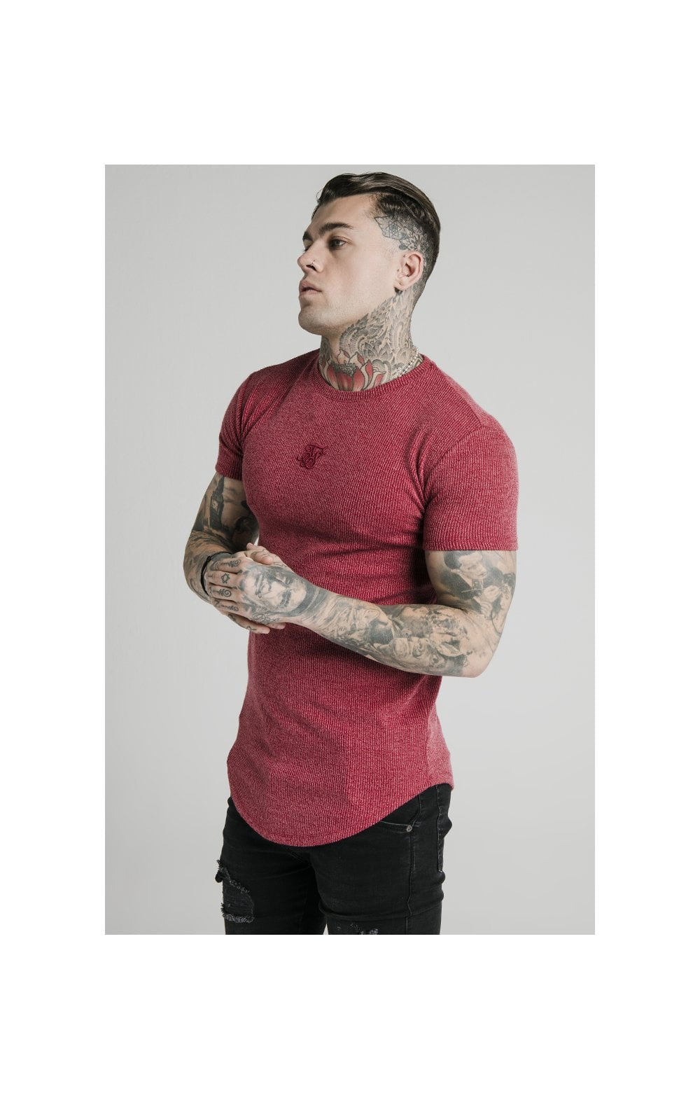 Load image into Gallery viewer, SikSilk Rib Knit Gym Tee - Red