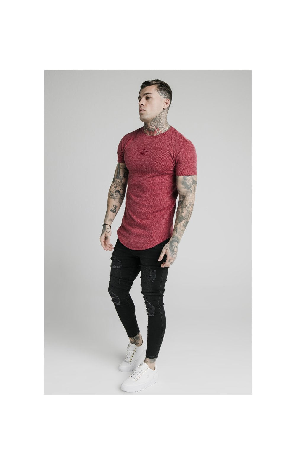 Load image into Gallery viewer, SikSilk Rib Knit Gym Tee - Red (2)