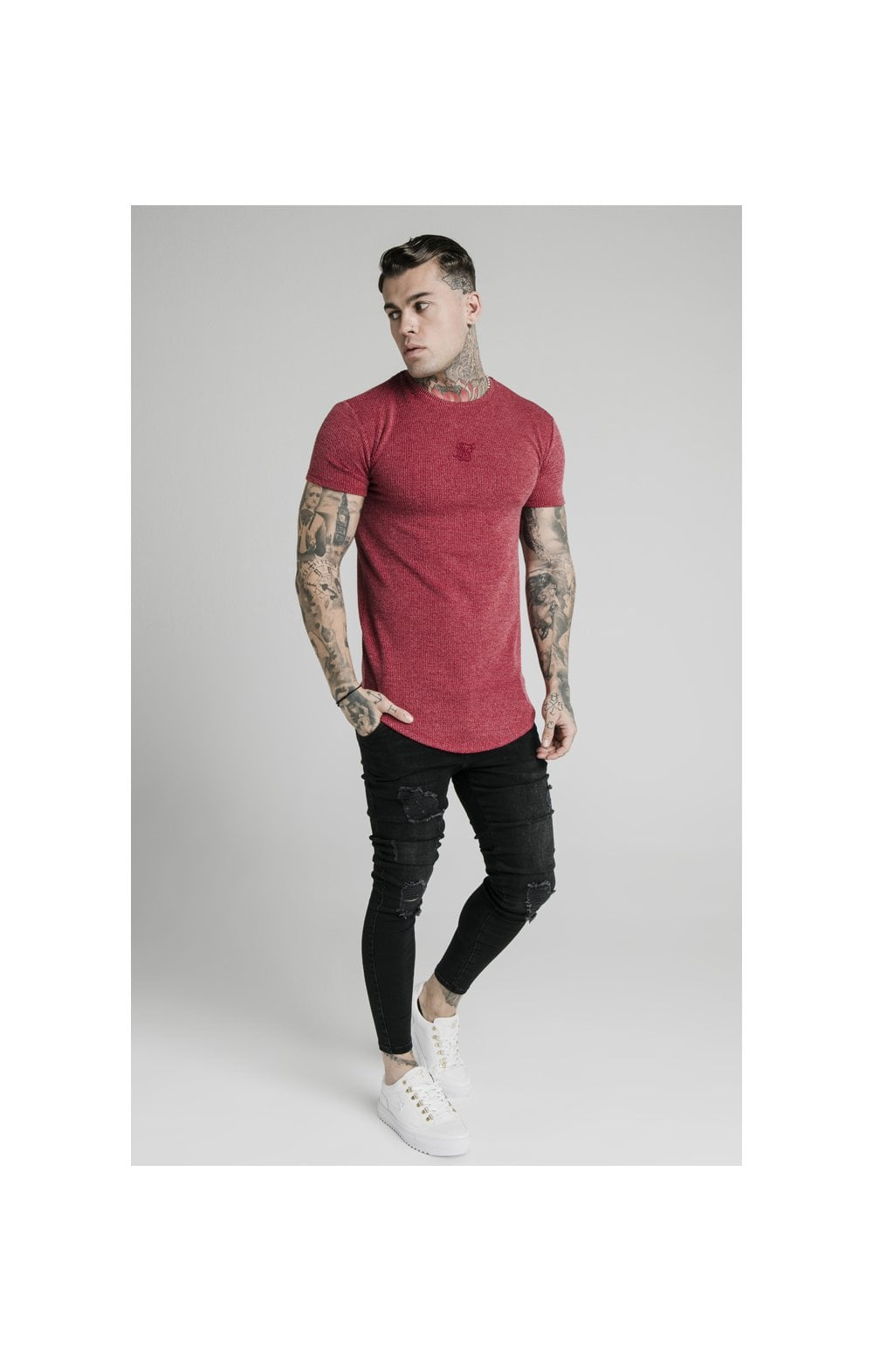 Load image into Gallery viewer, SikSilk Rib Knit Gym Tee - Red (3)