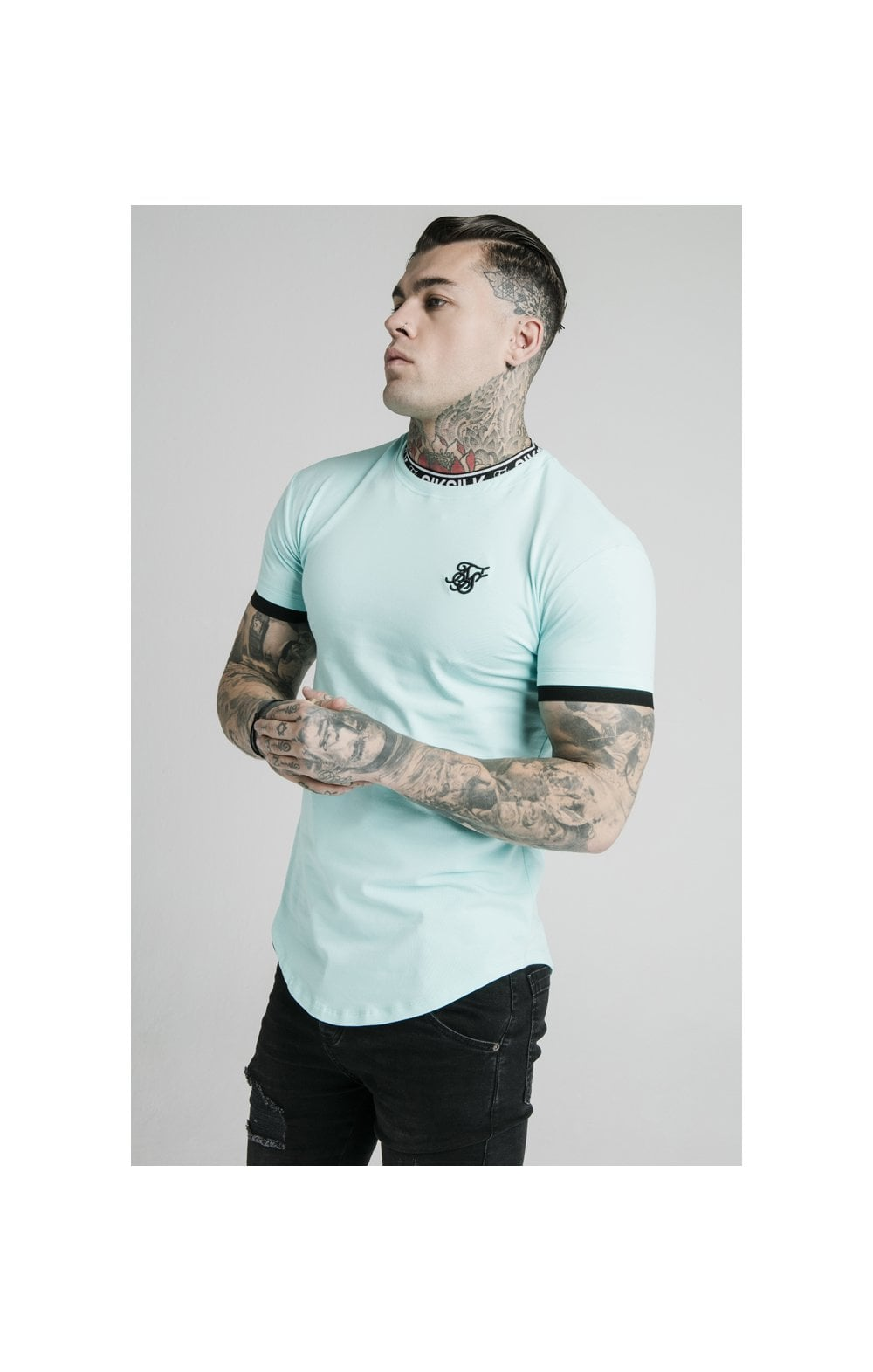 SikSilk S/S Inset Tape Collar Gym Tee - Teal